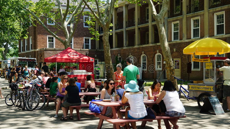 Food trucks at Governors Island in New York royalty free stock image