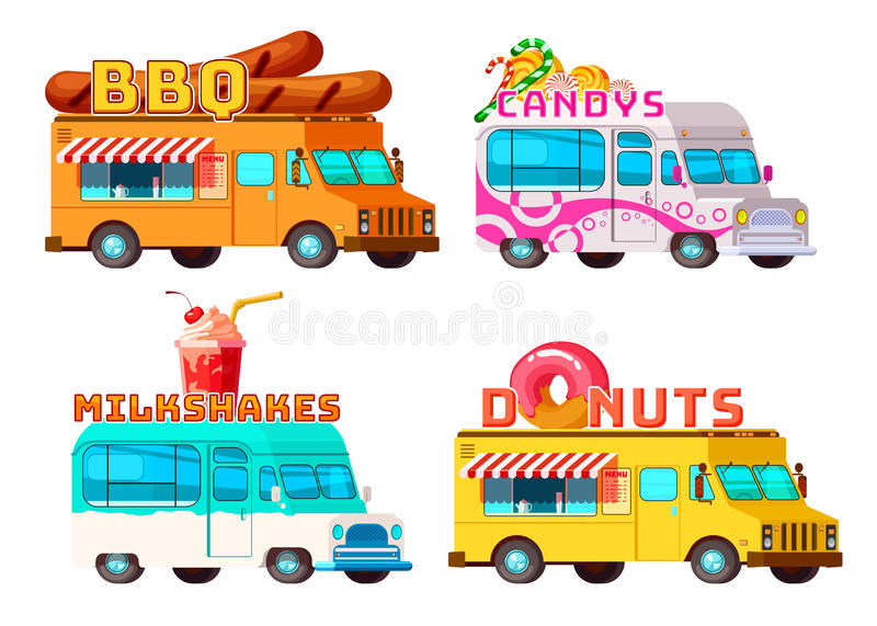 Food Trucks Set. Four isolated cartoon colorful food trucks selling bbq donuts sweets and cocktails with appropriate signs vector illustration royalty free illustration