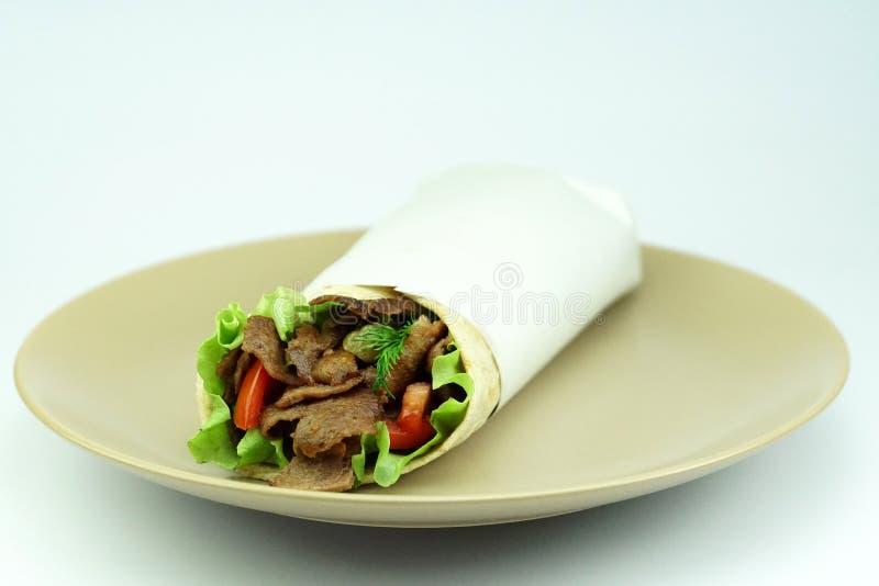 Food. Turkish doner kebab, beef food royalty free stock photo