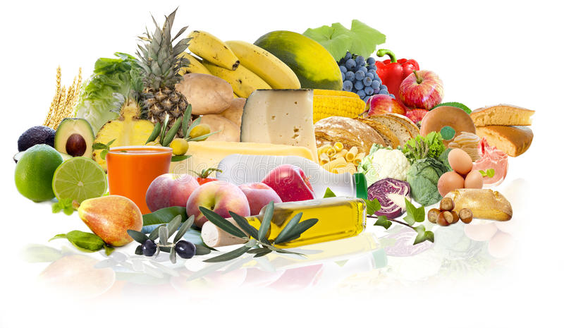 Food and varied diet royalty free stock photos