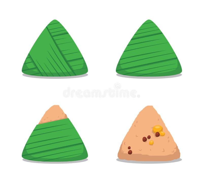 Zongzi Unfold Cartoon Vector Illustration. Food Vector EPS10 File Format vector illustration