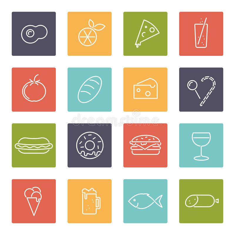 Food vector line icons set stock illustration
