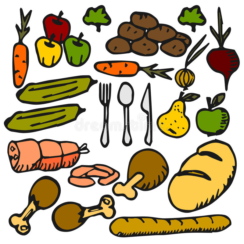 Food vegetable fruit a flat color icon Doodle royalty free stock photos