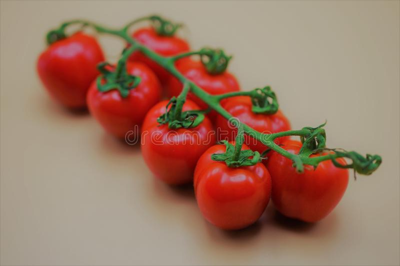 Bunch of fresh red mini tomatoes. Food, vegetable, healthy, vitamines, raw, nature, juicy, vegetarian, diet, tomato stock photo