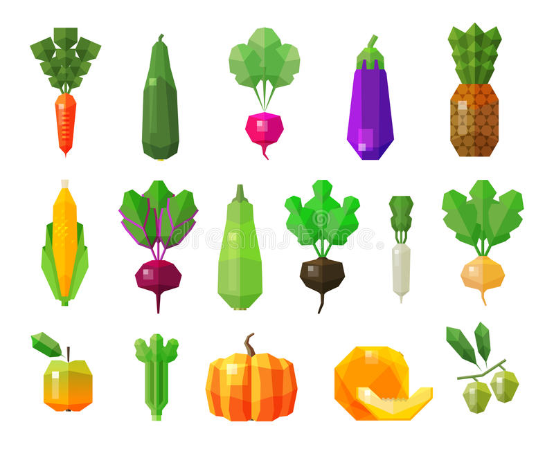 Food. vegetables and fruits set icons. vector stock illustration