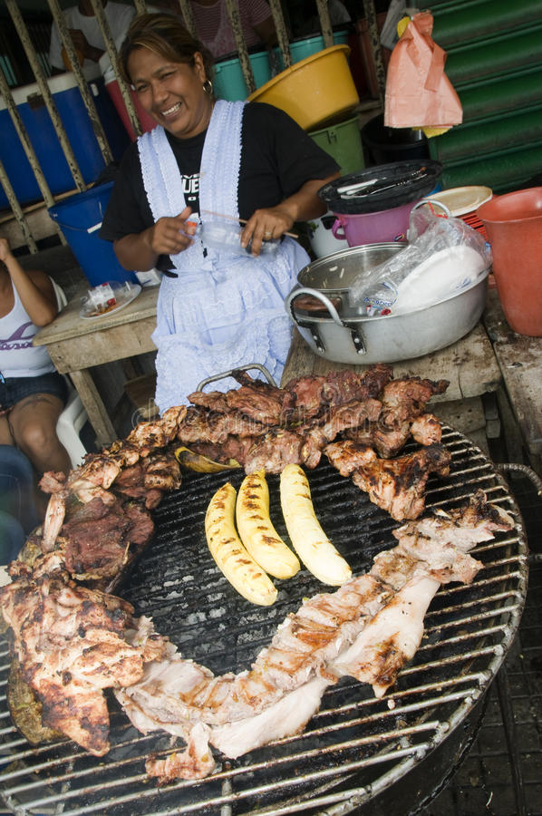 Food vendor cooking leon nicaragua royalty free stock photography