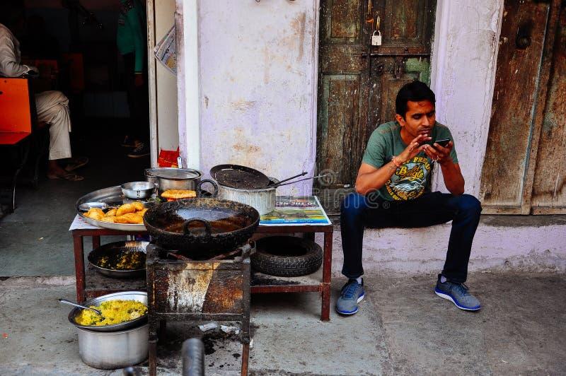 A food vendor in Pushkar, India. stock photography