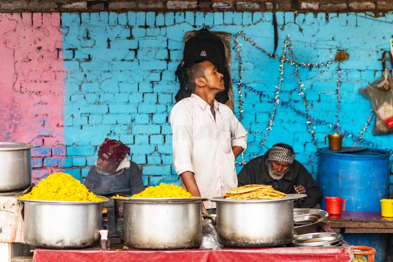 Food vendor New Delhi. Street food New Delhi, January 2019, India. Food vendor on New Delhi. Indian food. Asian street food stock images
