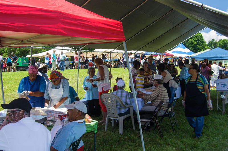 "Food Vendors at Booker T. Washington National Monument. Franklin County, VA – June 18th: Food vendors at the annual ""Juneteenth Gospel Event"" stock images"