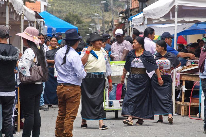 Food vendors in Cotacachi. Crowd in a food court area on Day of the Dead in Cotacachi, Ecuador royalty free stock photography