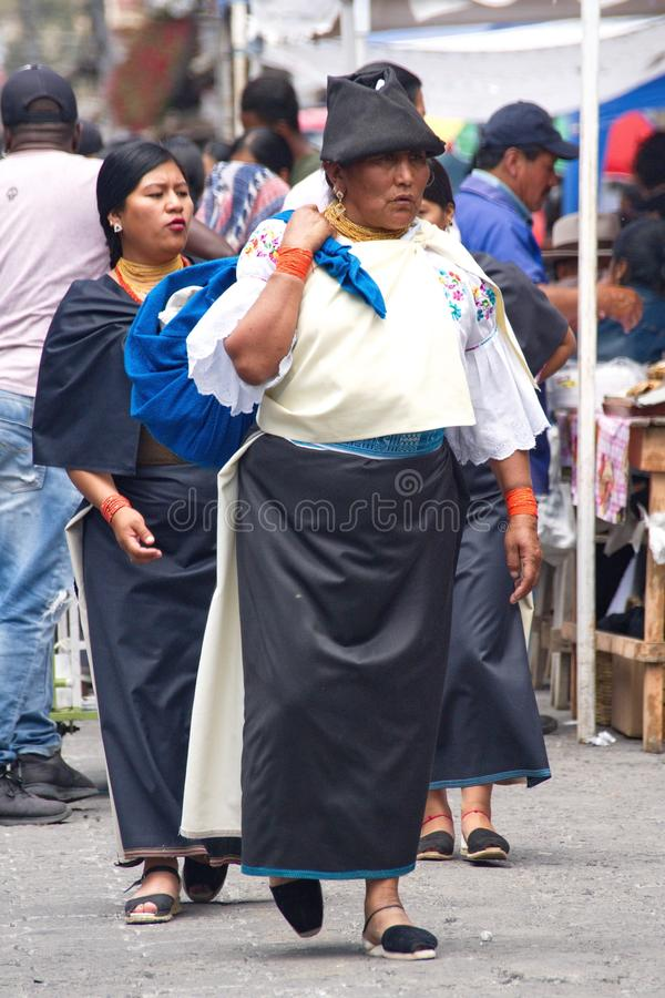 Food vendors in Cotacachi. Crowd in a food court area on Day of the Dead in Cotacachi, Ecuador royalty free stock photos