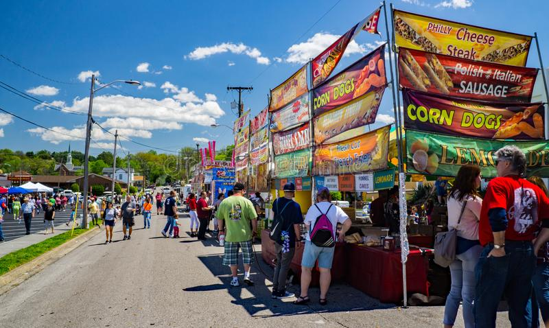 Food Vendors at the Vinton Dogwood Festival. Vinton, VA – April 28th: Hot food Vendors at the Annual Dogwood Festival located in Vinton, VA on April 28th royalty free stock images