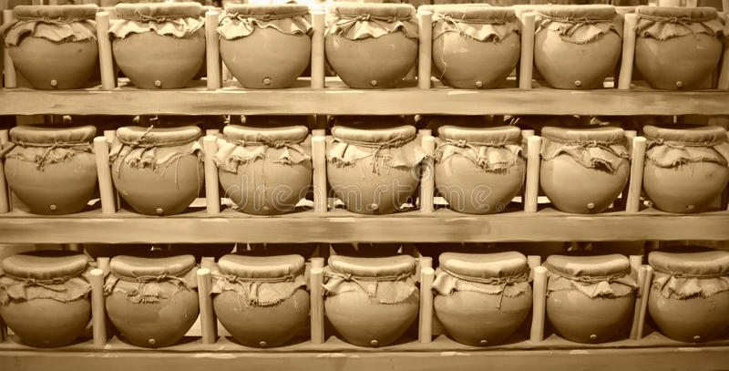 Food Vessels - The Ark Encounter. Food vessels made of pottery and covered with burlap at the Ark Encounter in Williamstown, Kentucky. A life sized replica of stock image