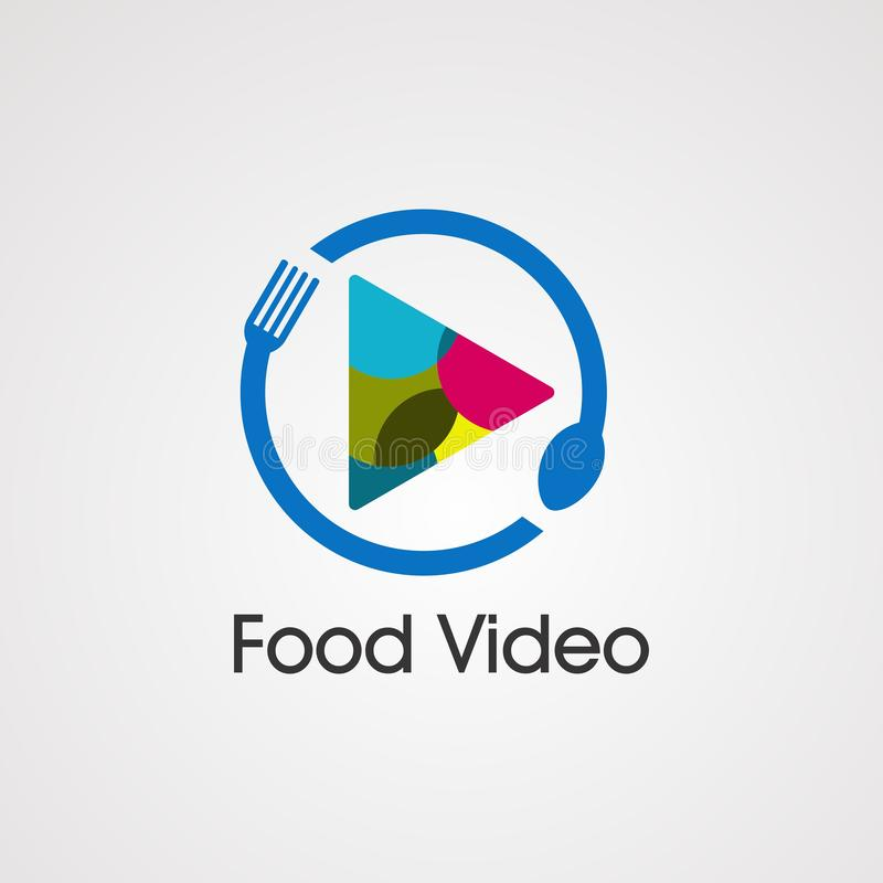 Food video with play icon colorful logo vector, element, and template for company royalty free illustration