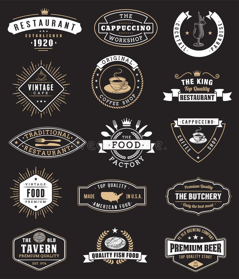 Food vintage design elements, logos, badges. On black background stock illustration