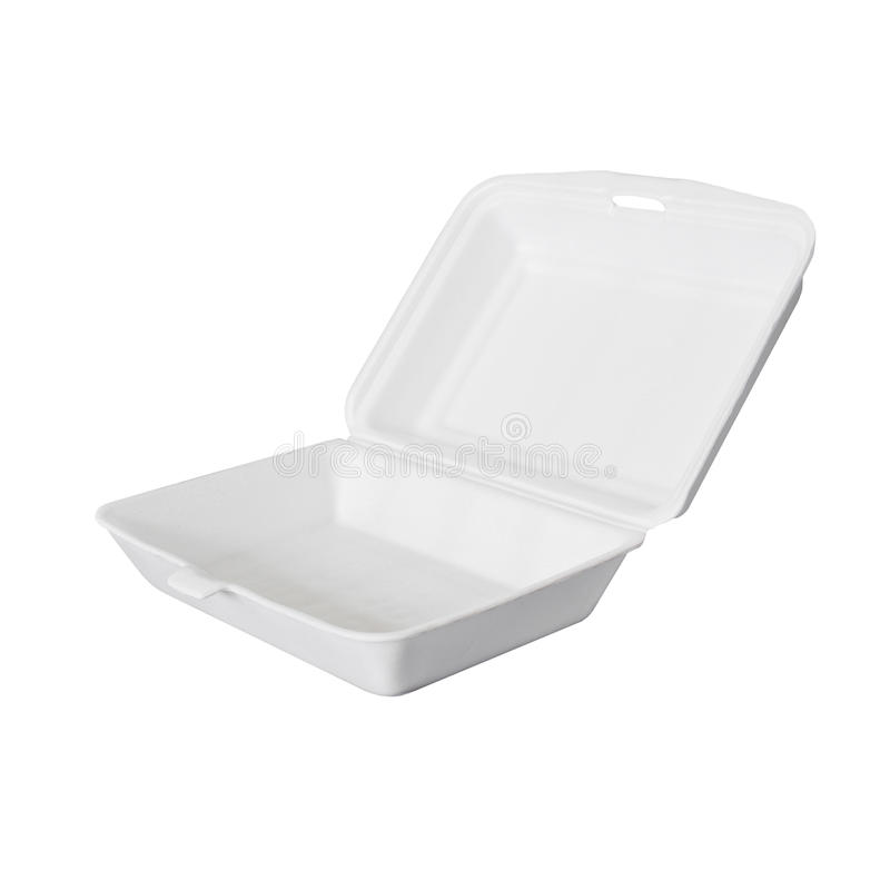 Food ware packaging of foam. Isolated royalty free stock images