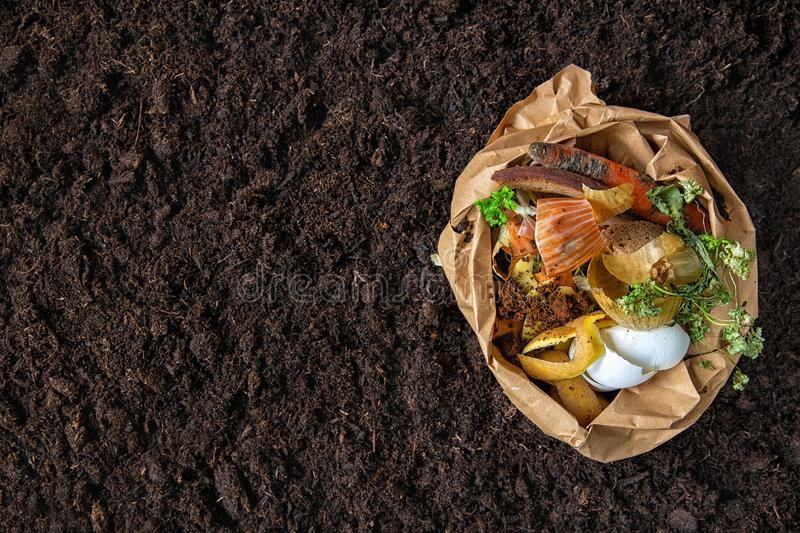 Food waste.compost from food waste. environmental control. Sorting of food waste in ecological packages royalty free stock photo