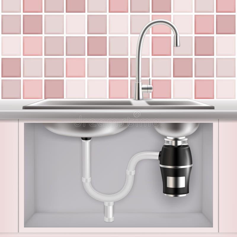 Food waste disposer under kitchen sink, vector realistic illustration stock illustration