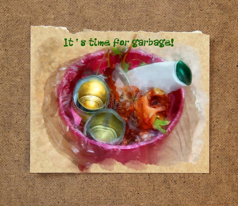 Food waste in a plastic trash can. Watercolor still life. `It`s time for garbage!` on paper with a torn edge in the passepartout stock image