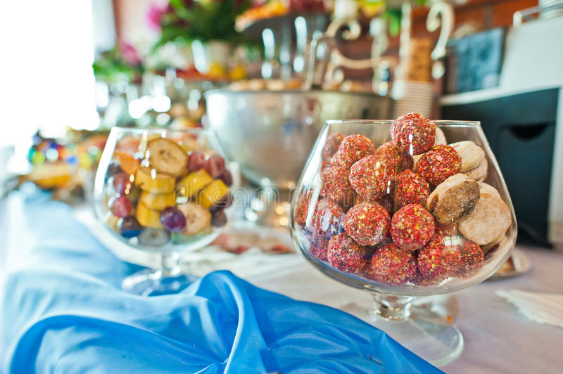 Food on wedding reception. Food and drink on wedding reception royalty free stock image