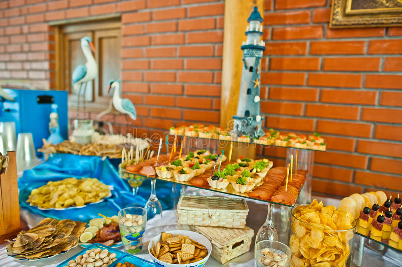 Food on wedding reception. Food and drink on wedding reception stock images