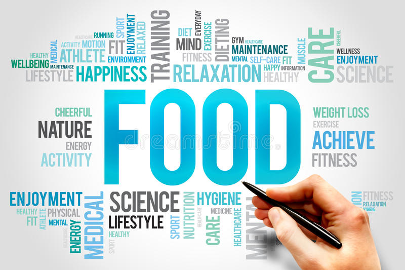 Food word cloud. Fitness, sport, health concept royalty free stock photos
