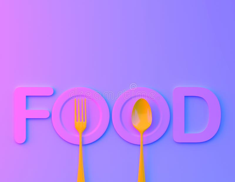 Food word sign logo with spoon and fork in bvibrant bold gradient purple and blue holographic colors background. minimal food conc. Ept. Cafe or restaurant stock image