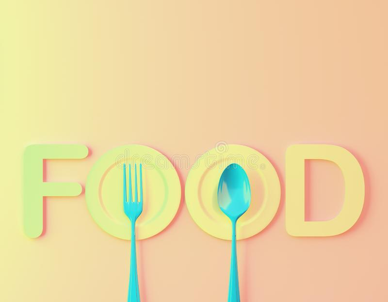 Food word sign logo with spoon and fork on gradient pastel orange colors background. minimal food concept. Cafe or restaurant embl royalty free stock photography