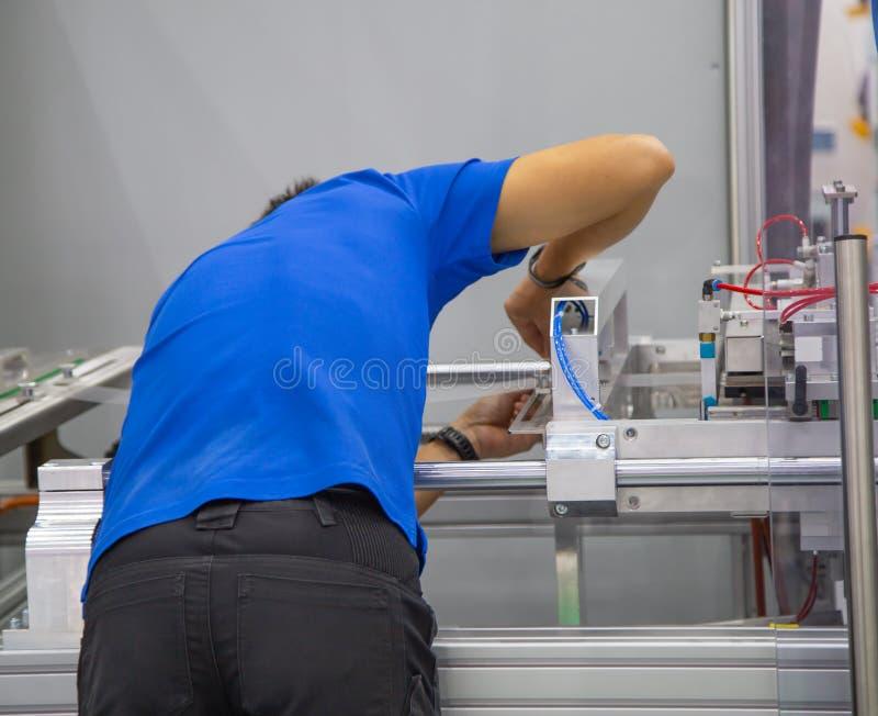 Food worker maintenance machine royalty free stock image