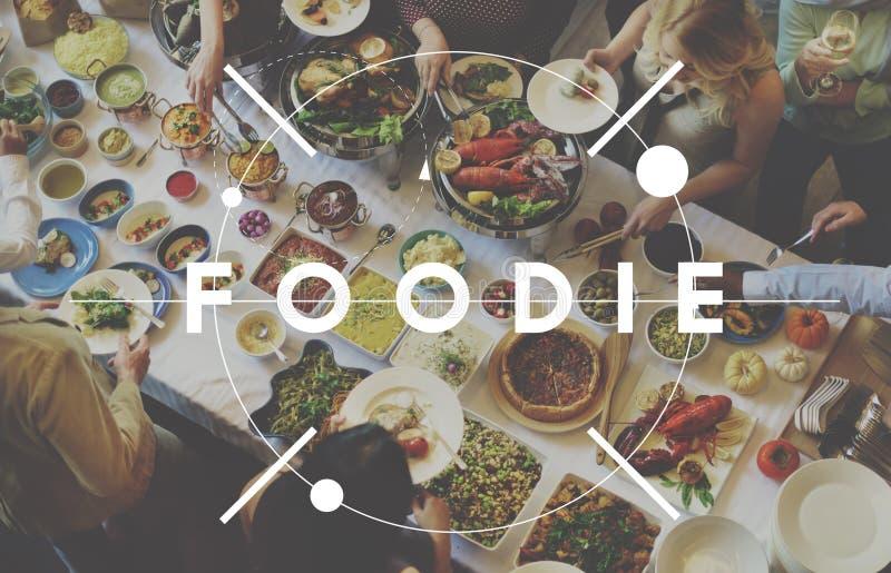 Foodie-Ernährungs-Restaurant-Essenbuffet-Konzept stockfotografie