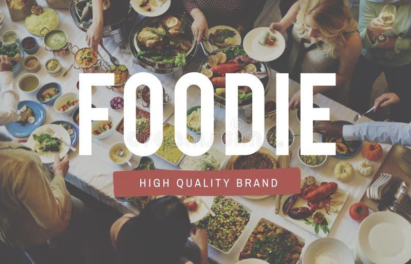 Foodie-Ernährungs-Restaurant-Essenbuffet-Konzept stockbilder