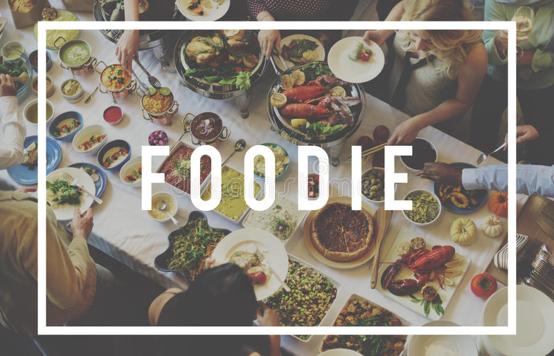Foodie-Ernährungs-Restaurant-Essenbuffet-Konzept lizenzfreies stockfoto
