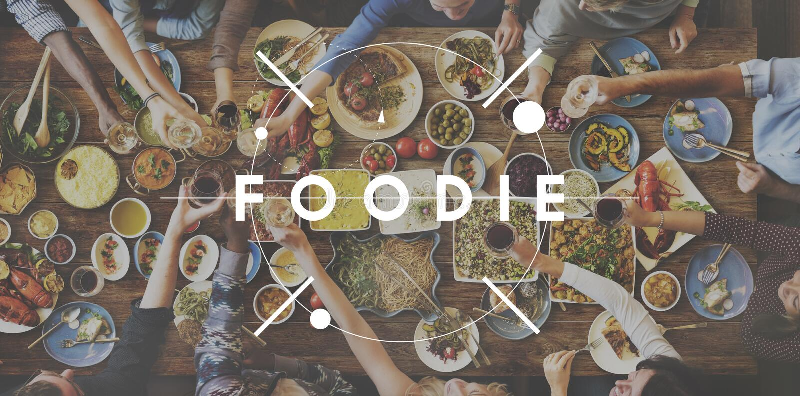 Foodie-Lebensmittel-Essenpartei-Feier-Konzept lizenzfreie stockfotografie
