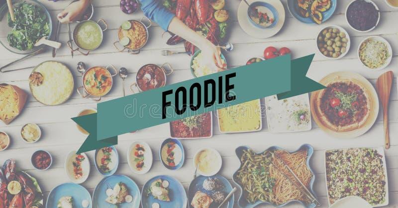 Foodie-Lebensmittel-Essenpartei-Feier-Konzept stockfotos