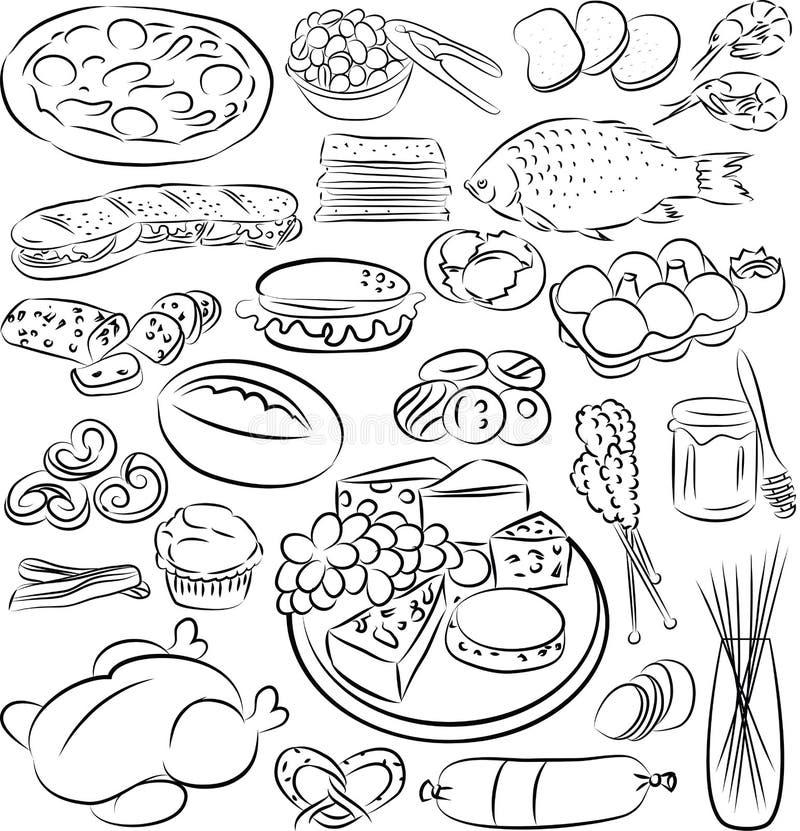 Foods royaltyfri illustrationer