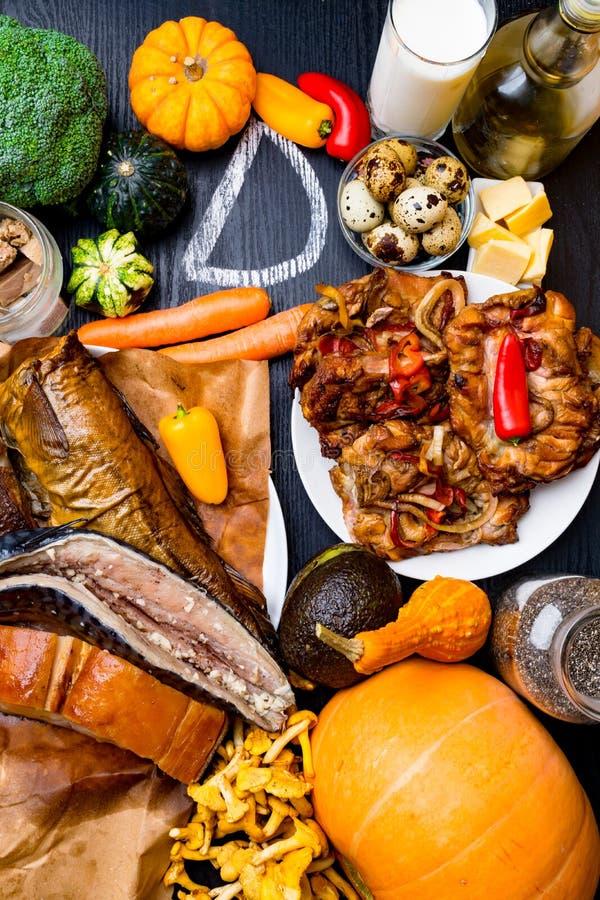 Foods bogaci w witamina d Odgórny widok zdjęcia stock
