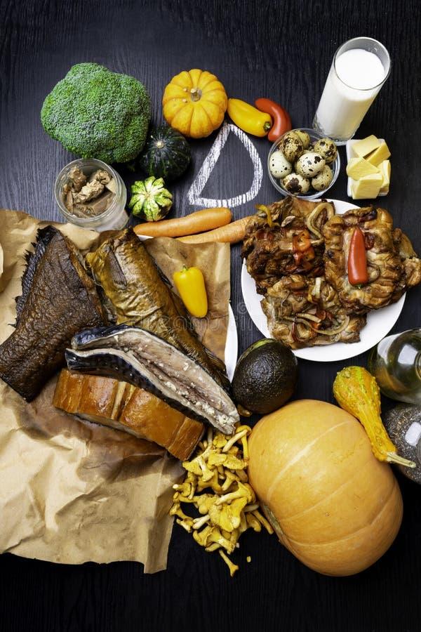 Foods bogaci w witamina d Odgórny widok fotografia royalty free