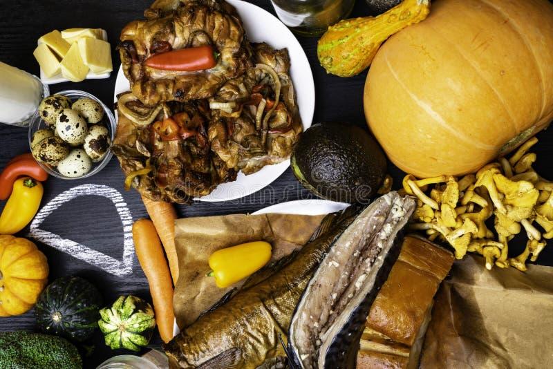 Foods bogaci w witamina d Odgórny widok fotografia stock