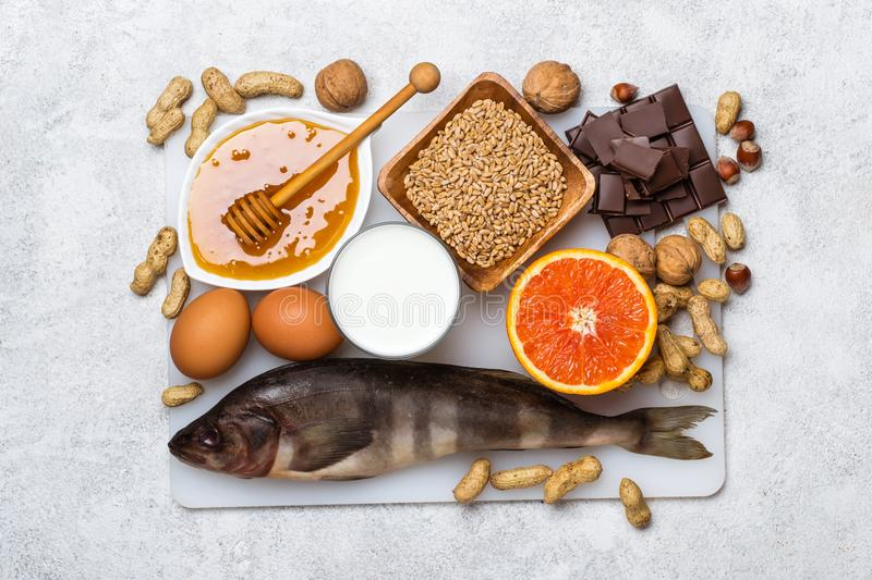 Selection of allergic food. Allergy food concept. stock photo