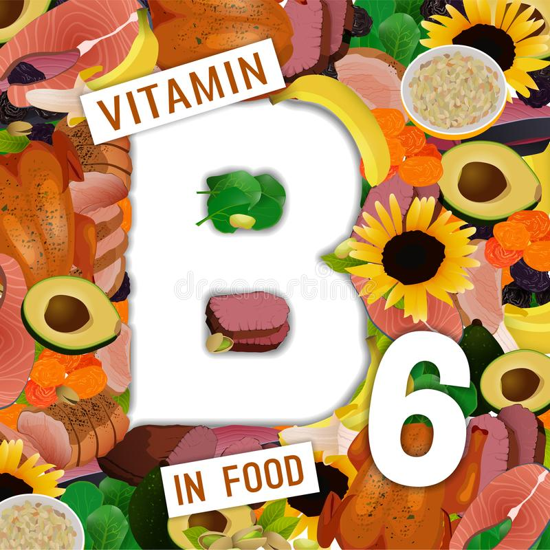 Vitamin B6 Background. Foods containing vitamin B6 colorful background. Source of pyridoxin - vegetables, dried fruits, roasted meat, chiken. Medical, healthcare royalty free illustration