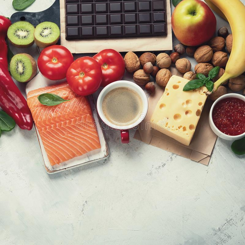 Foods for good mood, brain and happiness. Natural sources of serotonin and dopamine. Food for wellbeing, positive mood, better sleep, appetite and digestion royalty free stock images
