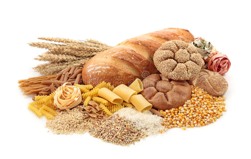 Foods high in carbohydrate. Isolated on white royalty free stock images
