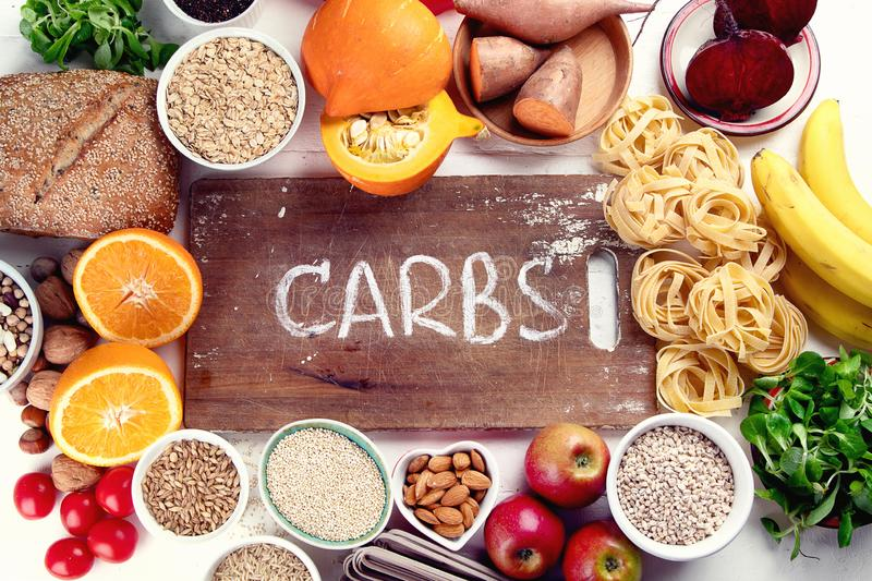 Foods high in carbohydrates royalty free stock photos
