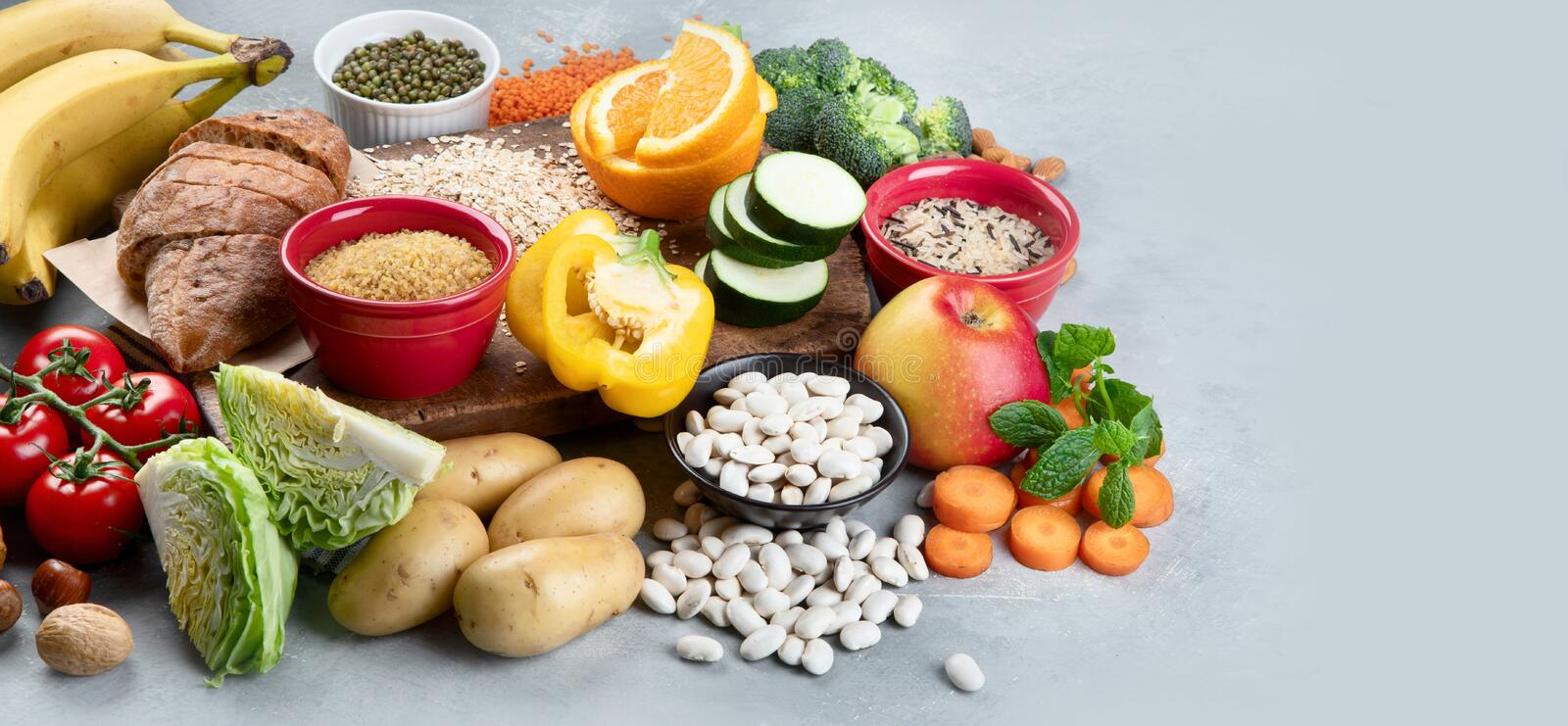 Foods High In Carbohydrates On Grey Background Stock Image - Image of  grain, antioxidant: 181011787
