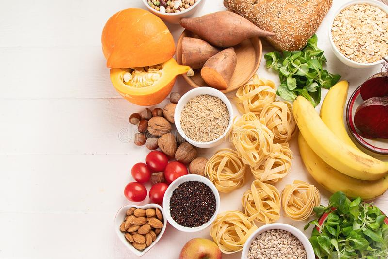 Foods high in carbohydrates royalty free stock photography
