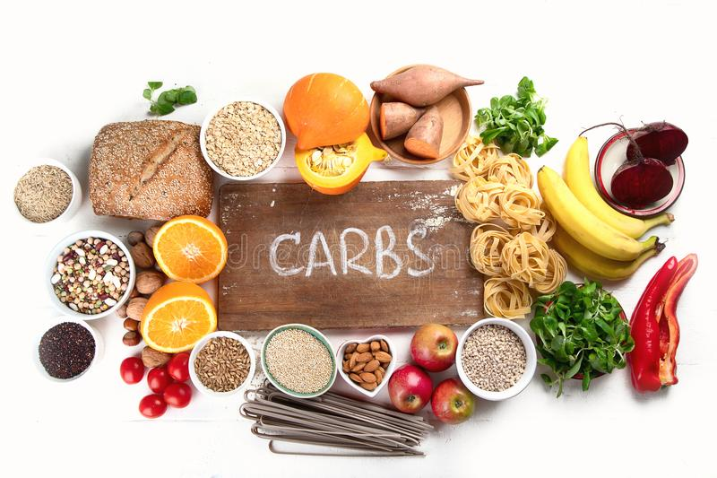 Foods high in carbohydrates stock photos