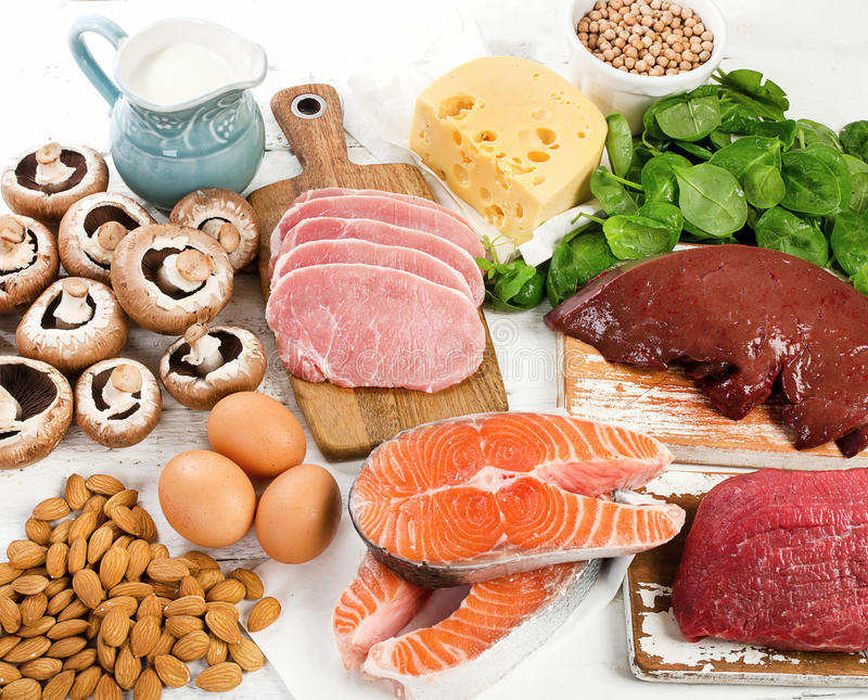 Foods Highest in Vitamin B2. Healthy eating. View from above stock images