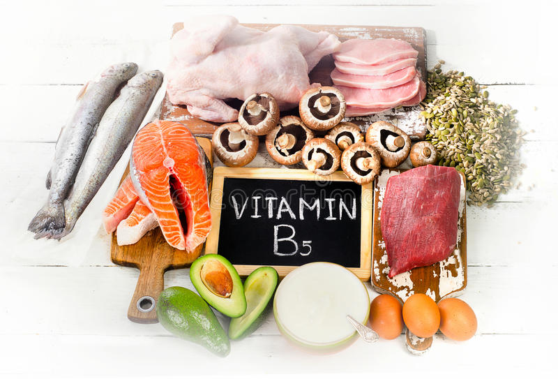 Foods Highest in Vitamin B5. Pantothenic Acid. Healthy eating concept. Flat lay stock photo