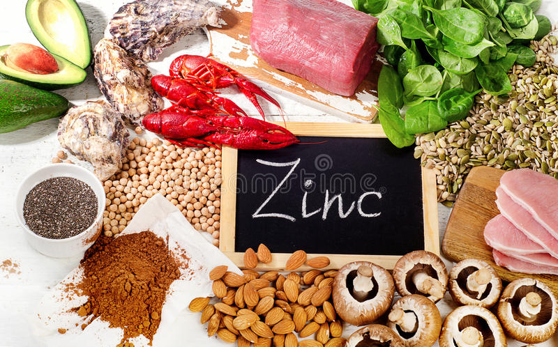 Foods Highest in Zinc. Healthy eating. Top view royalty free stock images