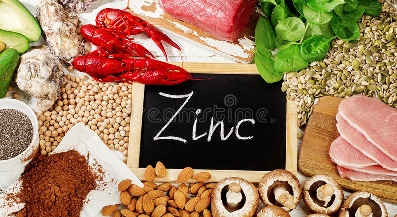 Foods Highest in Zinc. Top view royalty free stock photography